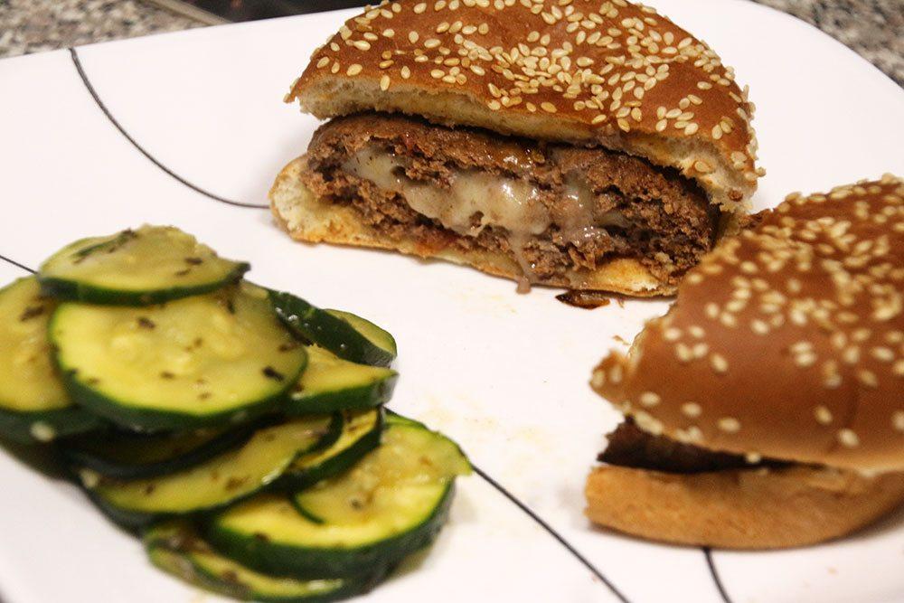 Cheese-Stuffed Salsa Burgers